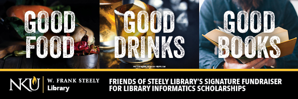 Good Food, Good Drinks, Good Books banner for Steely Library